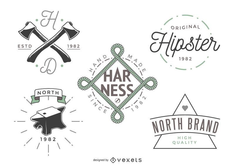 Set of vintage logo template designs in a modern hipster style Each