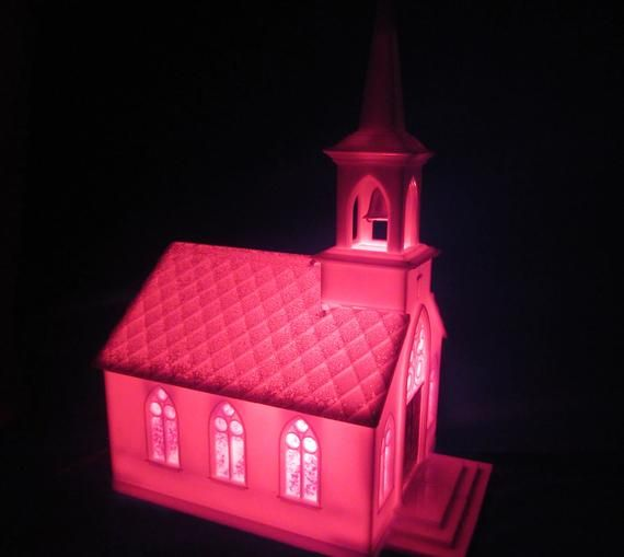 Vintage Hard Plastic Illuminated Church, Made in USA Lighted White Church with Red Light and Glitter Roof, Christmas Village Decor 9 tall #churchitems