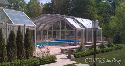 Our Retractable Pool Enclosures Have Innovative Framing System Which Eliminates Need For Cross Indoor Outdoor Pool Retractable Pool Cover Indoor Pool Design