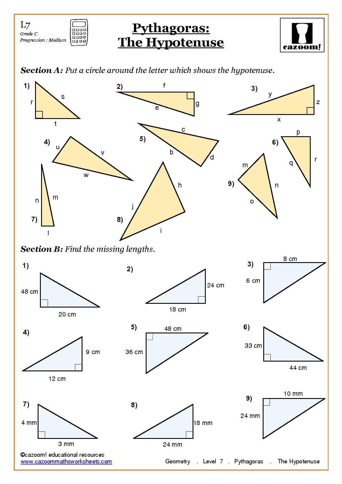 worksheet Pythagorean Theorem Problems Worksheet trigonometry and pythagoras worksheets maths worksheets