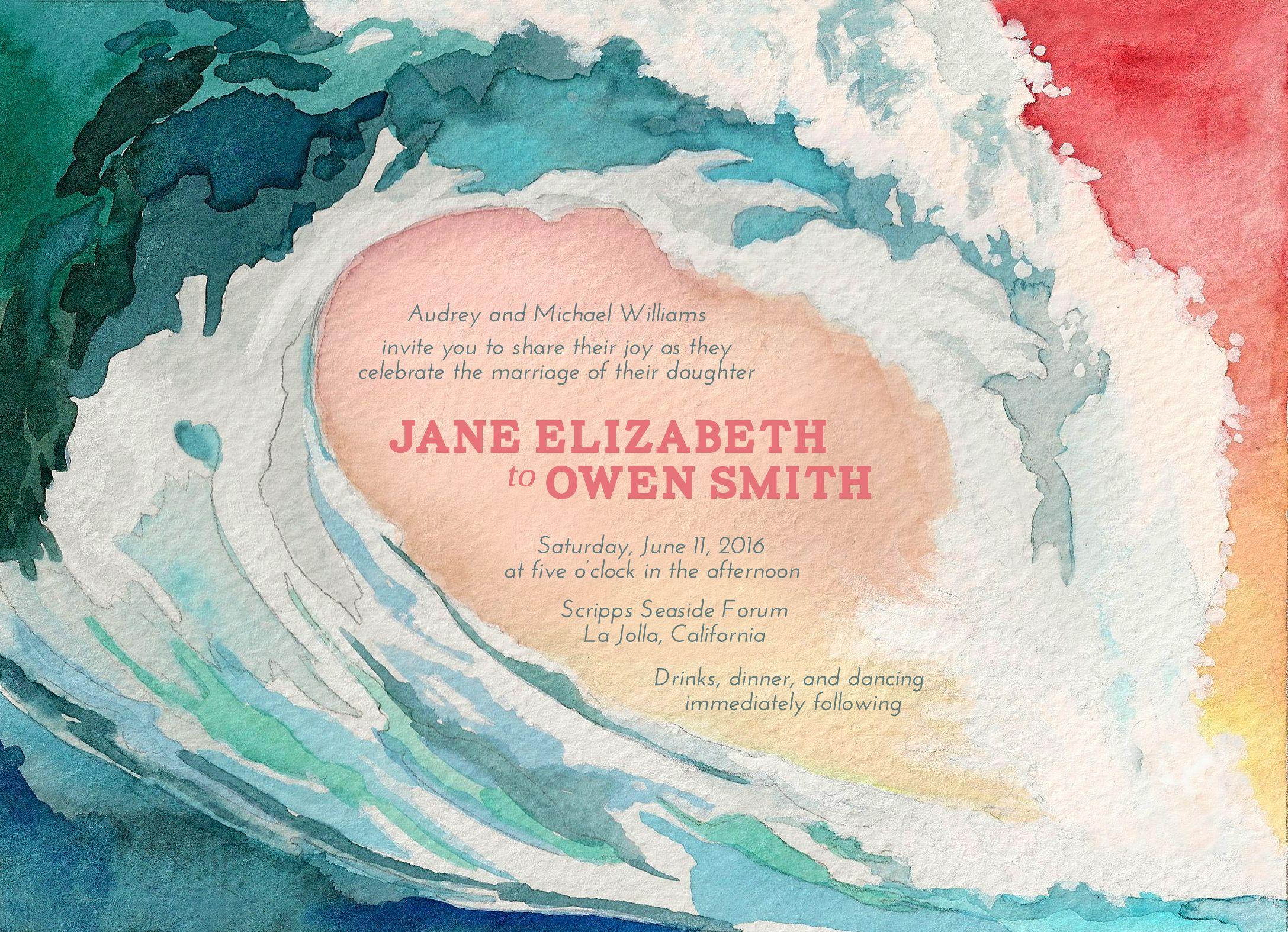 Ocean Wave watercolor Wedding Invitation by Arelor. https://arelor ...