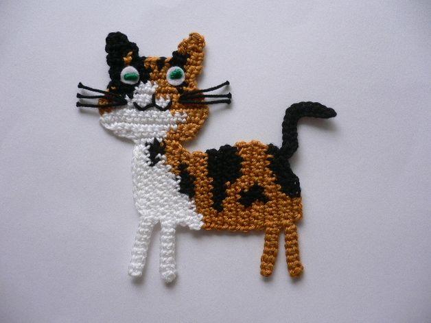 Glückskätzchen-Häkelapplikation #crochetapplicates