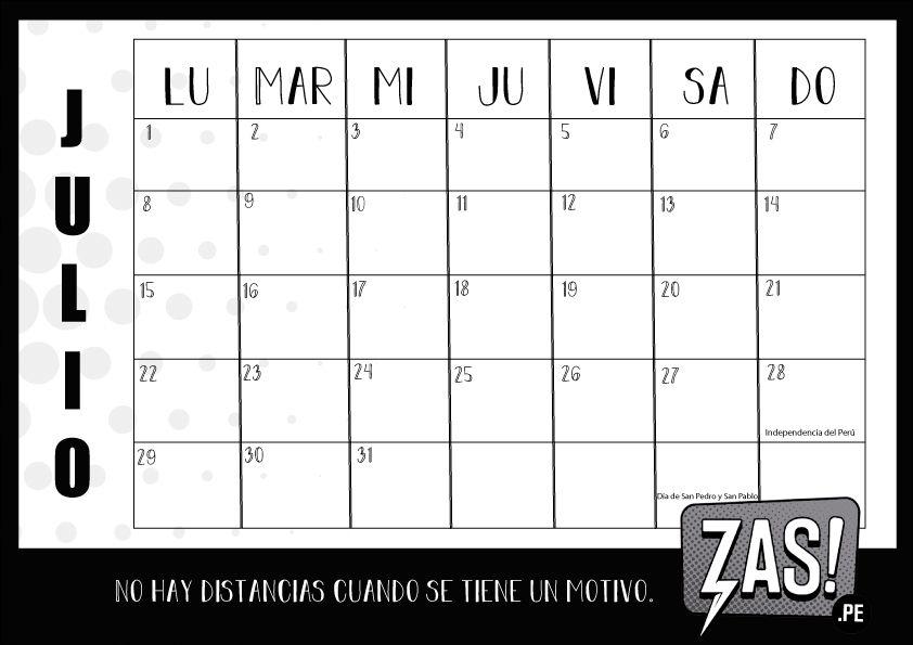 Calendario Julio Y Agosto 2020.Calendario 2019 Para Imprimir Gratis Zas Noticias Lore