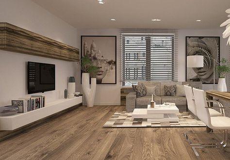 weißes Lowboard und Oberschrank in Holzoptik No Place Like Home - wohnzimmer ideen fernseher