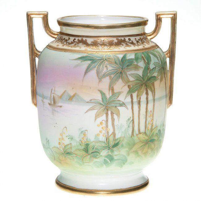 Nippon Egyptian Scenic Vase Handles 8 58 Marks On Nippon