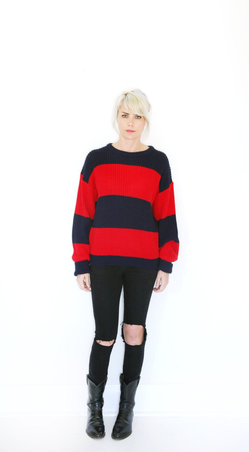 187355285f2 Vintage 90s Kurt Cobain   Freddy Krueger Sweater Red and Blue Stripe Knit  Jumper XL by VintageReBelle on Etsy