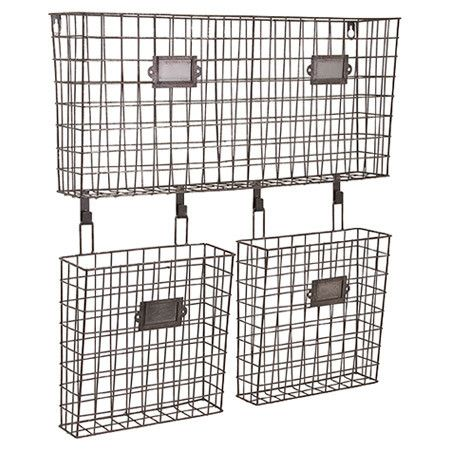 Keep Clutter At Bay In The Foyer Or Study With This Wire Wall Organizer,  Featuring Plaque Label Details And Ample Storage Space.