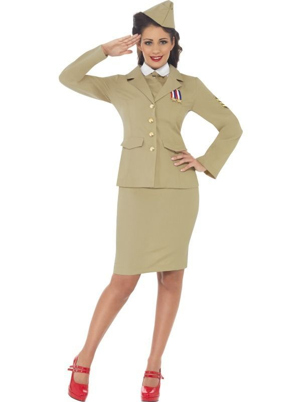 Adult Retro Officer Fancy Dress Costume 40s Wartime Army Officer Military Ladies #Smiffys #CompleteOutfit  sc 1 st  Pinterest : army fancy dress costumes  - Germanpascual.Com