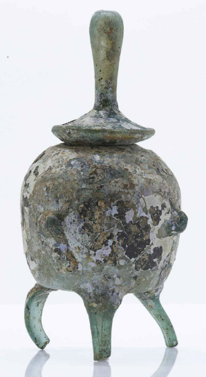A VERY RARE IRIDESCENT PALE GREEN GLASS TRIPOD RELIQUARY JAR AND COVER SONG DYNASTY, 10TH-12TH CENTURY