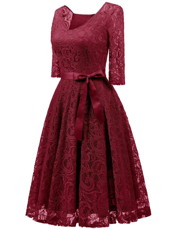 Dressystar 0018 V Neck Lace 3 4 Sleeve Bridesmaid Wedding Guest Dress Slim Waist M Dark Red C Lace Dress Vintage Women Lace Dress Summer Dresses Knee Length [ 1500 x 1150 Pixel ]