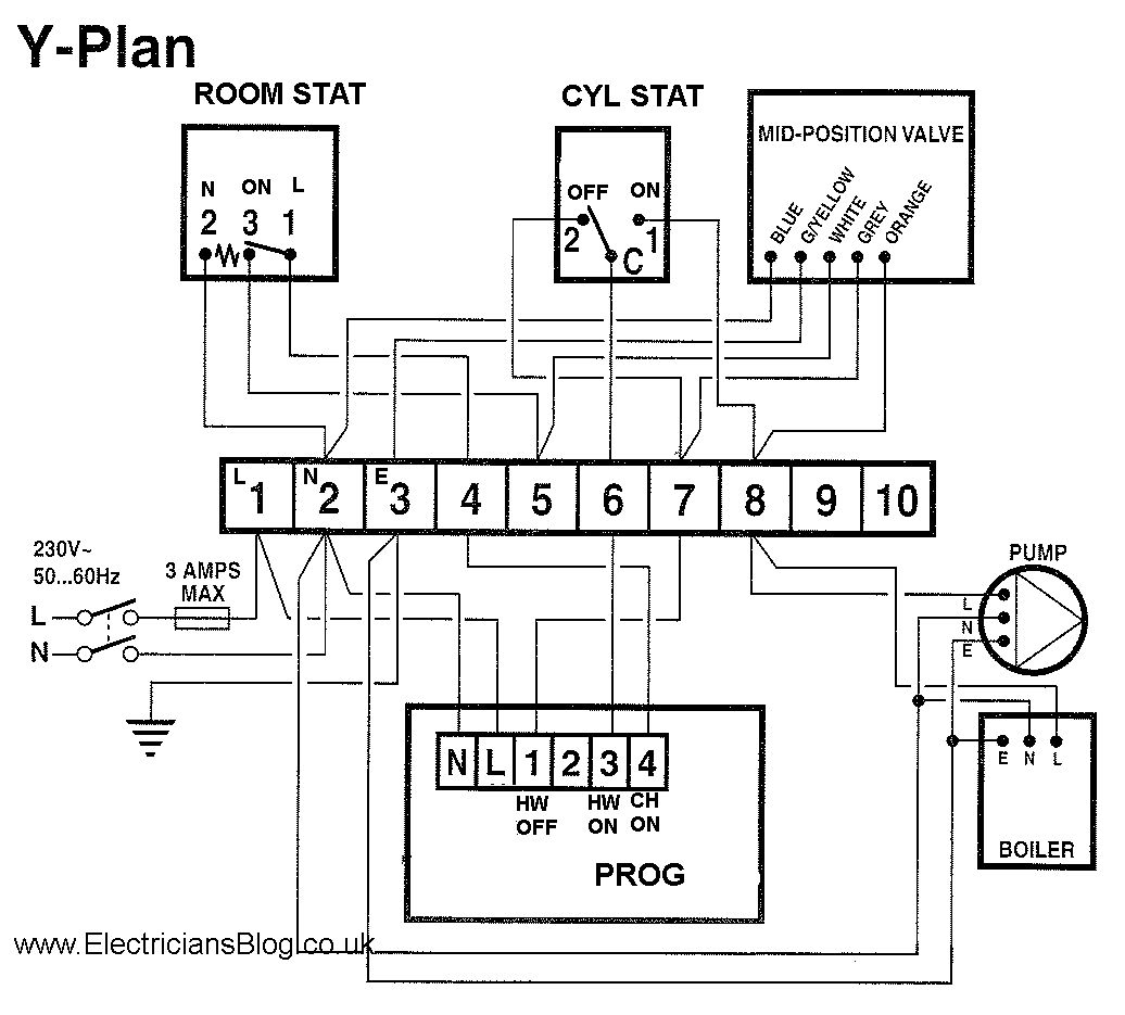 wiring diagram for central heating pump