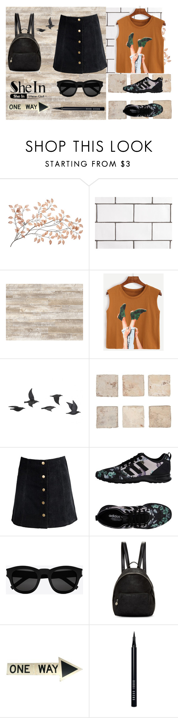 """""""Camel Graphic Print Top"""" by vincapervinca ❤ liked on Polyvore featuring Jayson Home, adidas Originals, Yves Saint Laurent, STELLA McCARTNEY, Bobbi Brown Cosmetics and shein"""