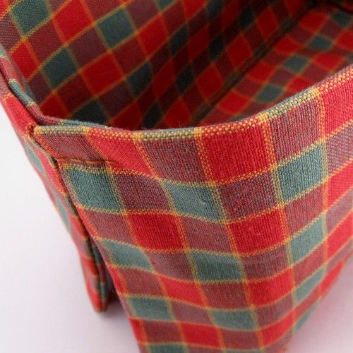 Red and Green Plaid Fabric Basket