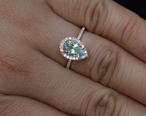 Rose Gold Aquamarine Engagement Ring Diamond Ring 14k Gold with Aquamarine Pear 9x6mm and Diamonds Halo #aquamarineengagementring