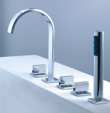 Roman Tub Faucet With Hand Shower For 5 Hole Tub   Contemporary   Bathroom  Faucets