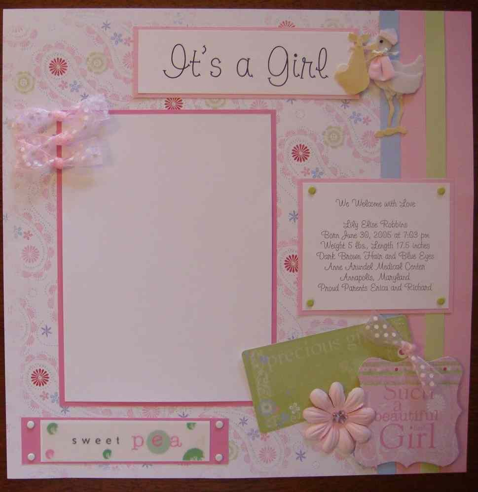 Baby Girl Scrapbook Layouts Product Front Baby Pinterest