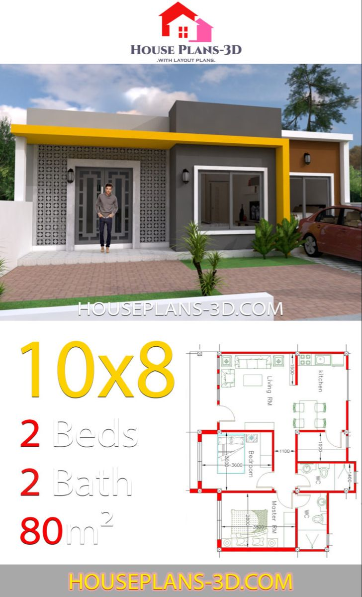 House Design 10x8 With 2 Bedrooms House Plans 3d House Construction Plan Philippines House Design House Plans