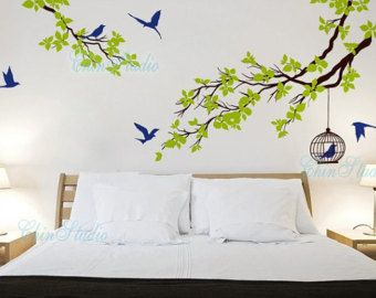 Nice Vinyl Wall Decals Tree Birds Wall Decal Wall Art Sticker Nature Wall Decal  Vinyl Nursery   Branchs Cherry Blossom Birdcage Birds