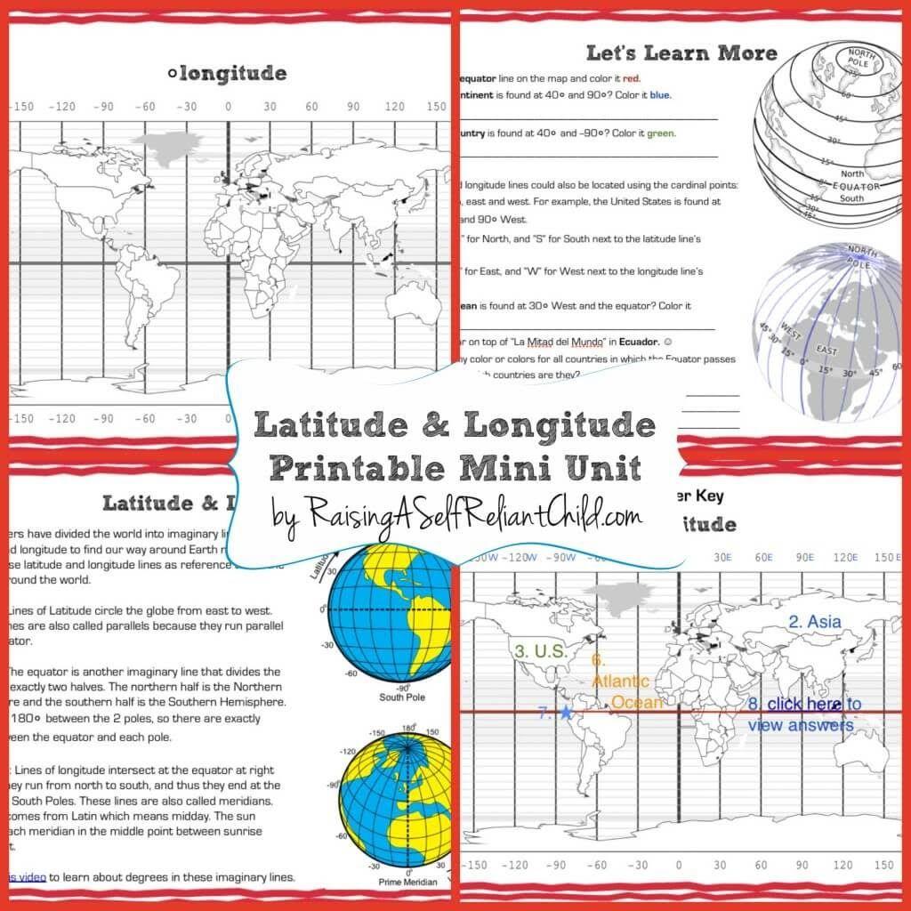 Latitude Longitude Free Printable Mini Unit
