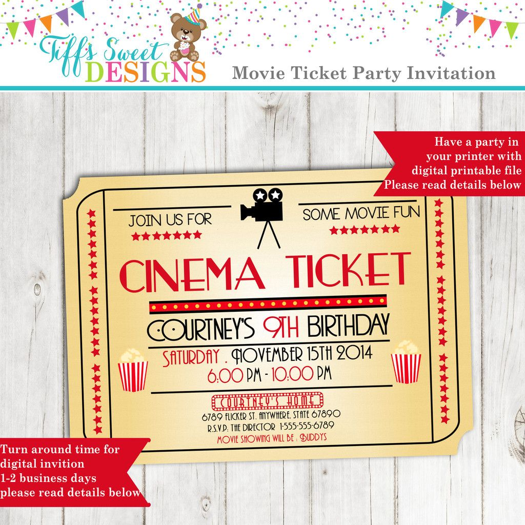 Movie Night Invitation - Movie Ticket Invitation - Cinema - Birthday ...