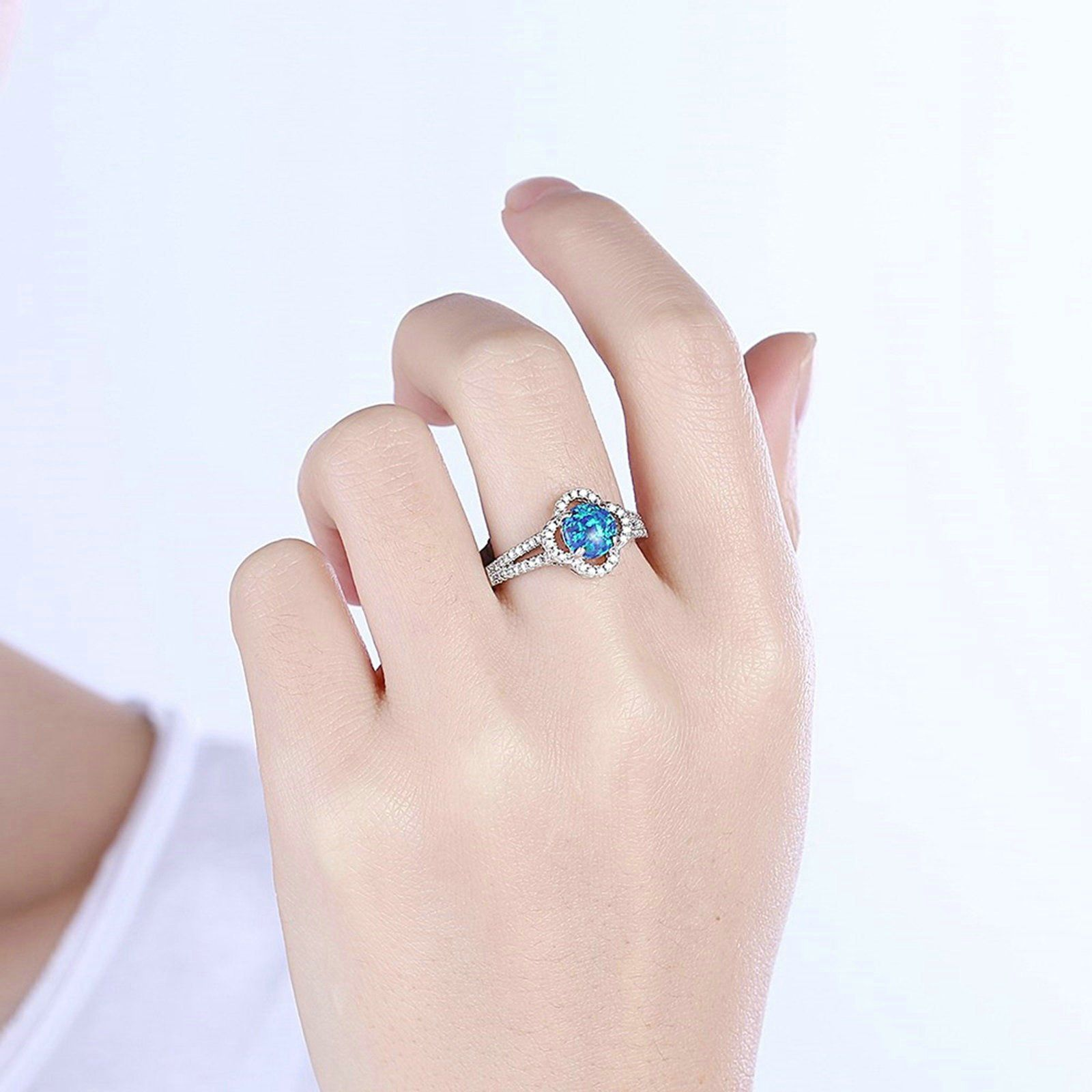 Epinki Gold Plated Women Ring Cubic Zirconia Flower Blue
