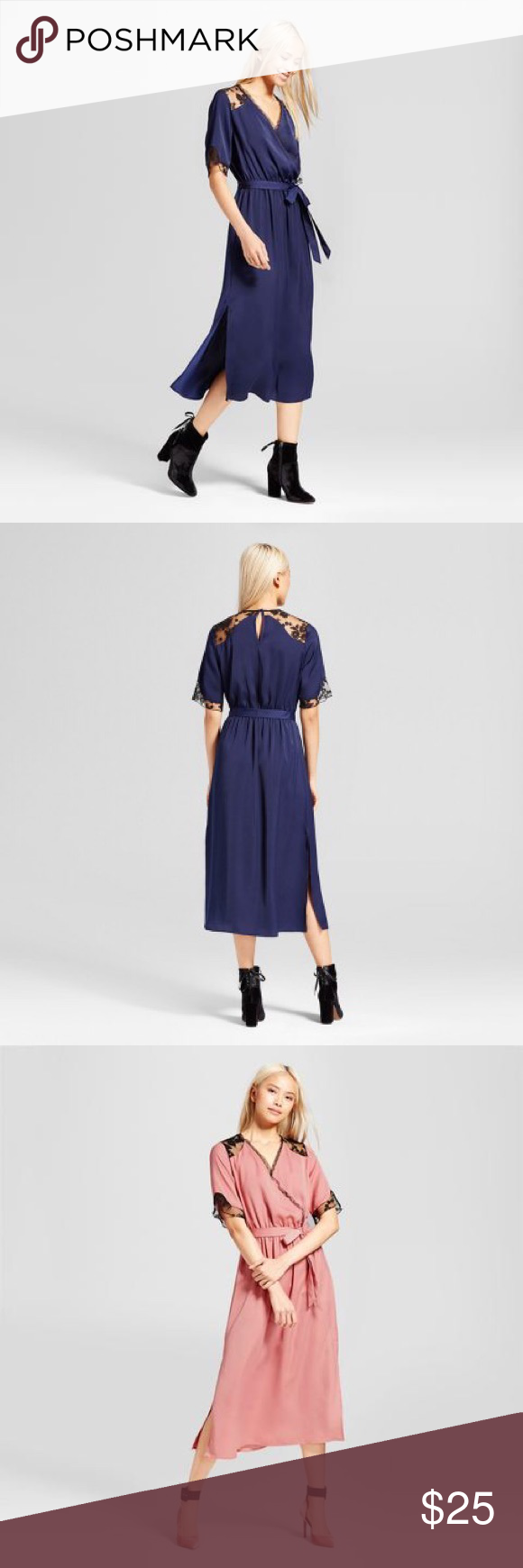 Whowhatwear X Target Satin And Lace Midi Dress Lace Midi Dress Navy Midi Dress Who What Wear [ 1740 x 580 Pixel ]