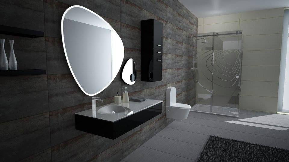 Conceito Curvy Espelho, lavatório, base de duche e resguardo de banho.  Concept Curvy Mirror, washbasin, shower tray and shower enclosure.  #biselarte #curvy