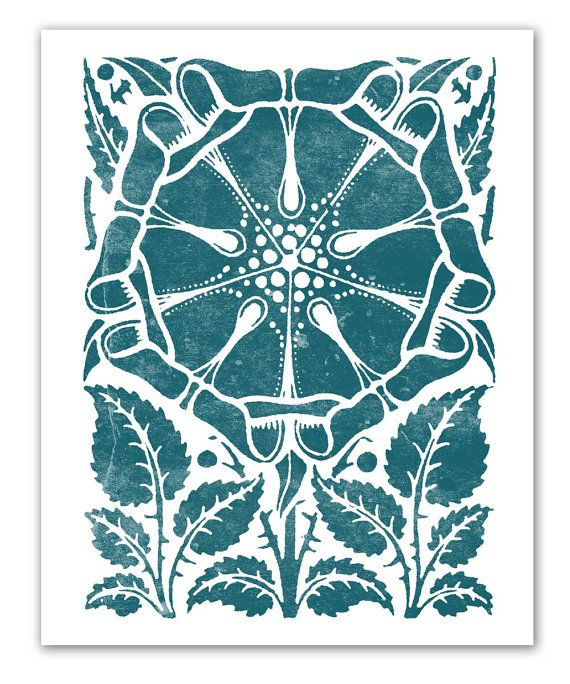 Teal Emerald Dutch Flower - New Fall Colors - Vintage Woodblock with a Modern Twist - 11 x 14. $22.50, via Etsy.