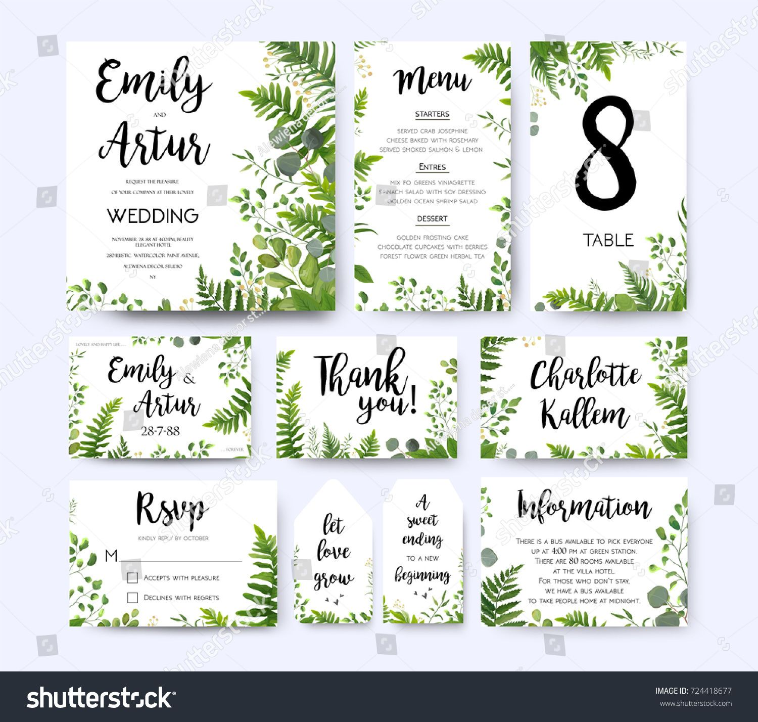 Wedding invite, invitation menu rsvp thank you card vector floral g ...