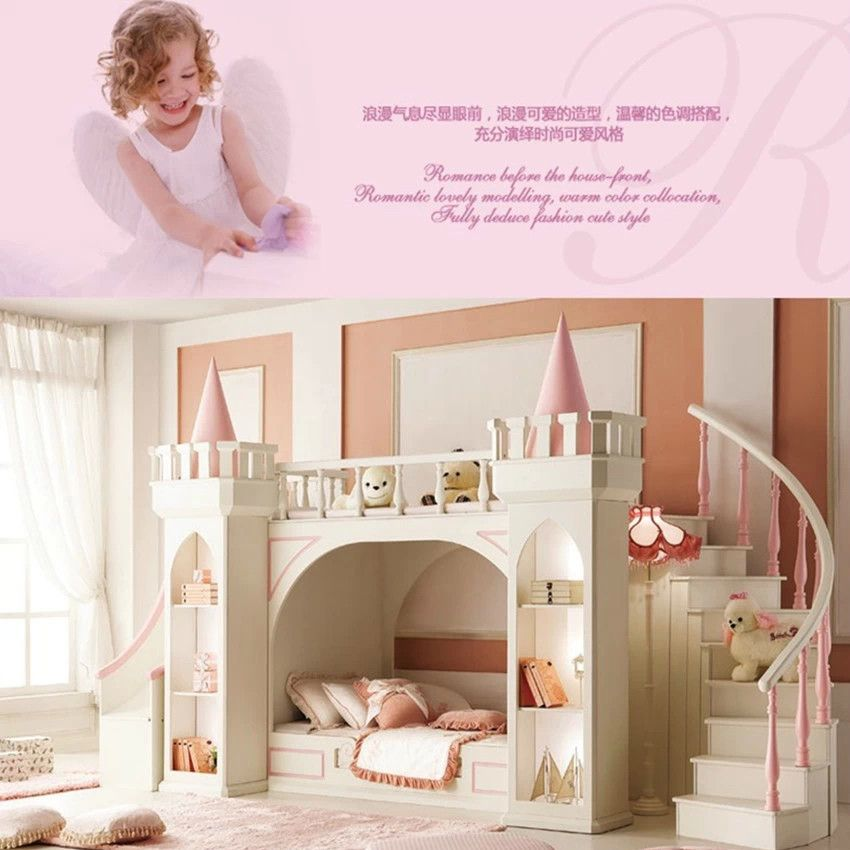 europ ische prinzessin kinder schlafzimmer m bel doppelstockbett kiefer holzleiter decor ideas. Black Bedroom Furniture Sets. Home Design Ideas