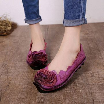 Hot-sale Floral Print Retro Leather National Wind Soft Comfortable Slip On Flat Shoes - NewChic