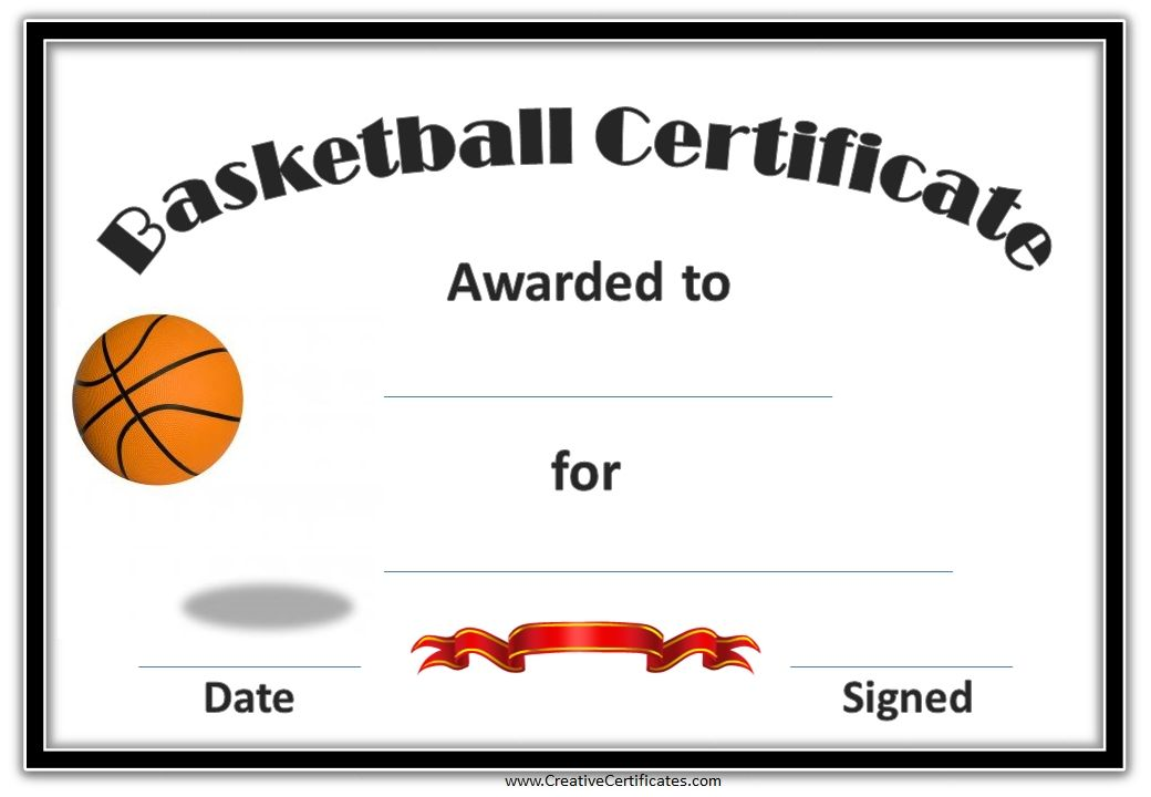 picture regarding Printable Basketball Certificates identify Basketball Certificates meals Basketball awards