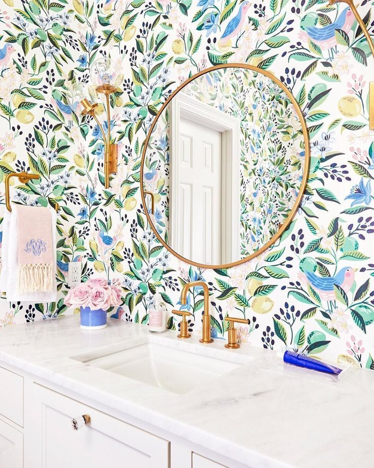 "Photo of Caitlin Wilson on Instagram: ""Teeth brushing is a whole lot more enjoyable for my kids when they're surrounded by our happiest wallpaper, Citron Vert.  Chic and…"""