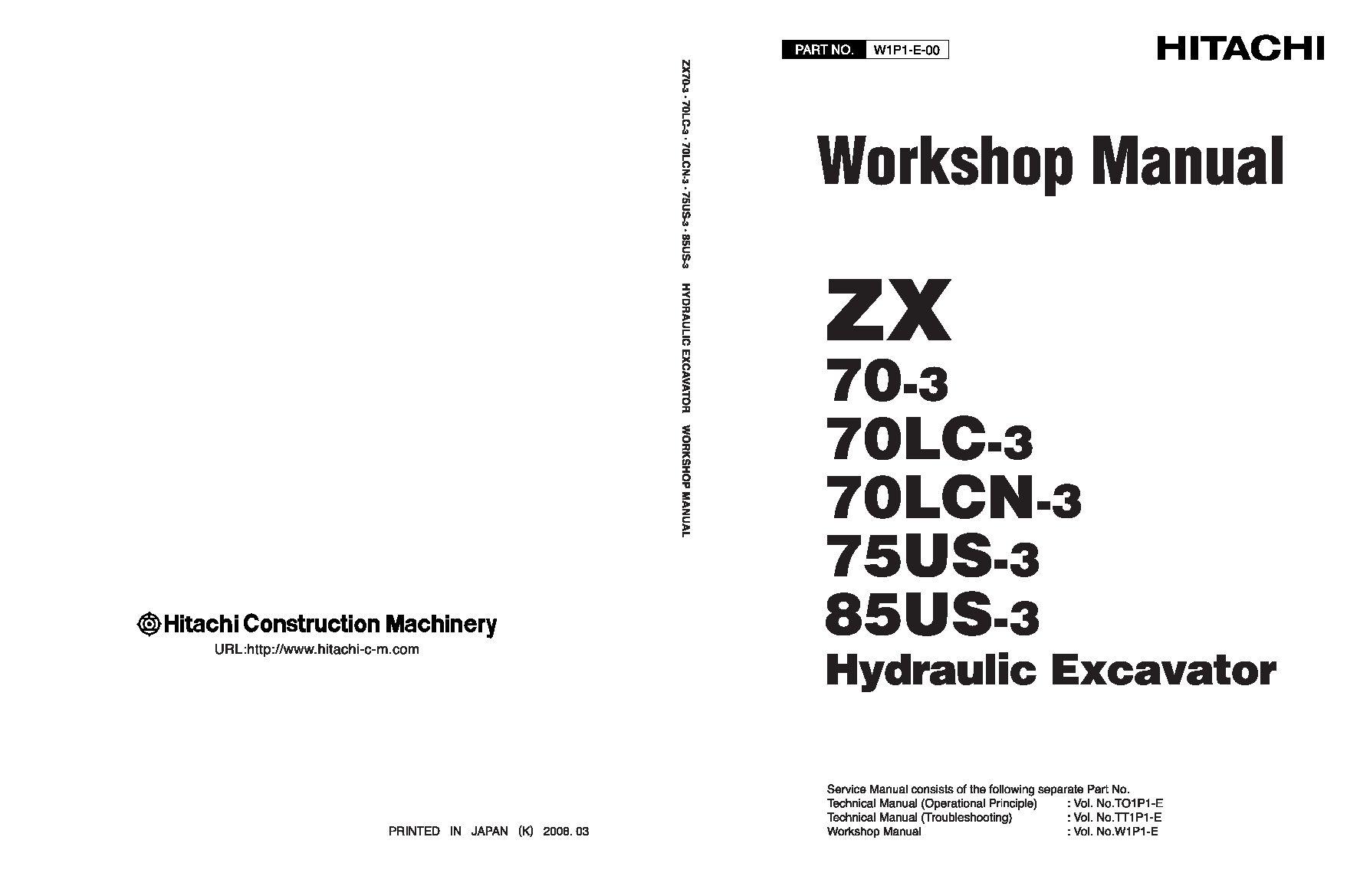 Hitachi ZX70-3 75US-3 85US-3 Excavator Workshop Repair