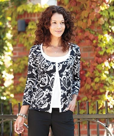Get a chic, layered look in one fabulous piece with a Women's Printed Flyaway 2-Fer Top. It looks like a cardigan worn over a tank or tee, but it wears with all-in-one ease.
