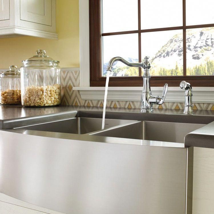 Moen 1800 Series 30 X 21 Stainless Steel 18 Gauge Double Bowl Farmhouse Kitchen Sink G18220 The