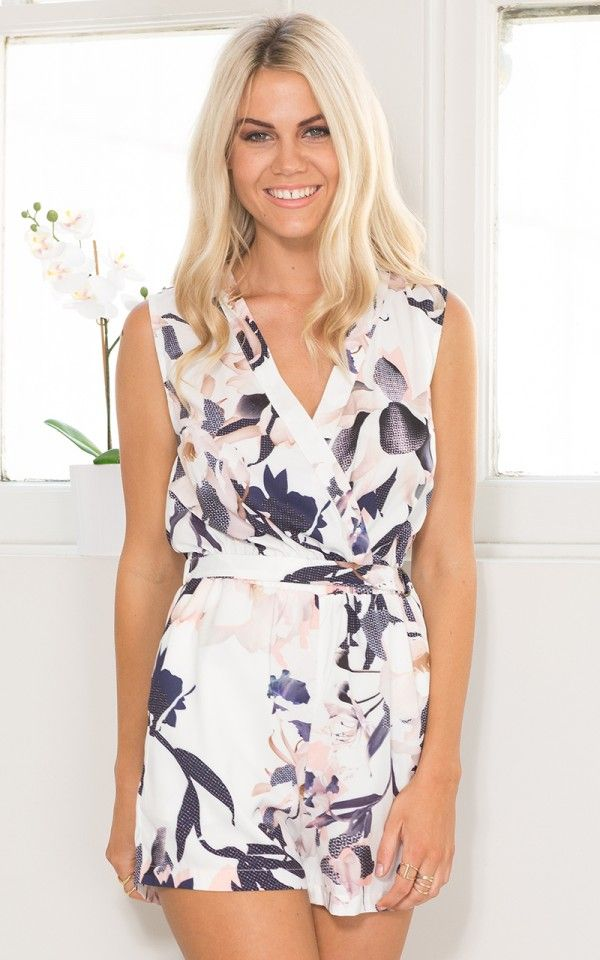 Date Day Playsuit in White Print