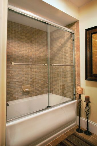 basco shower doors infinity clear glass silver and kohler bancroft tub - Bathtub Shower Doors