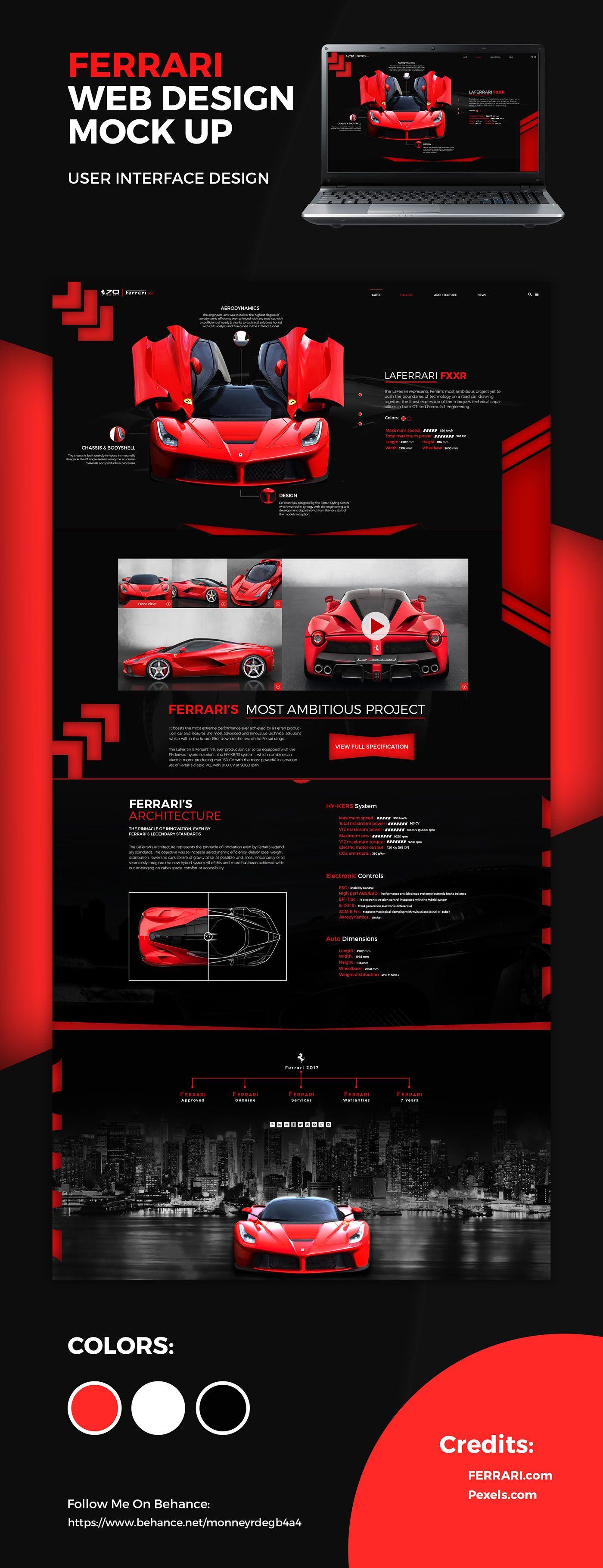 Ferrari Website Mock Up On Behance Ferrari Website Ferrari Website Mockup