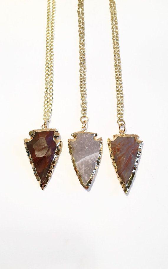 Arrowhead necklace Jasper Arrowhead by BrookesBitsHandmade on Etsy