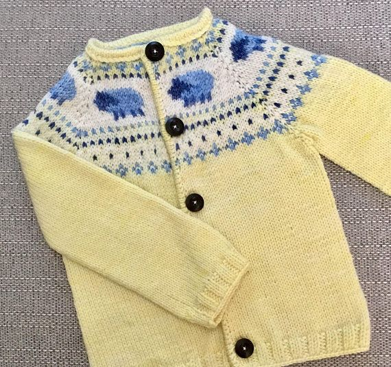 Pattern yellow sheep cardigan knitting pattern 6 12 months