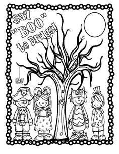 say boo to drugs color sheet red ribbon weekclassroom activitiesclassroom ideasschool counselingcolor sheetsdrug free