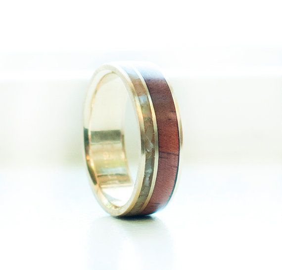 Mens Wedding Band Mother of Pearl Redwood Wedding Ring Staghead