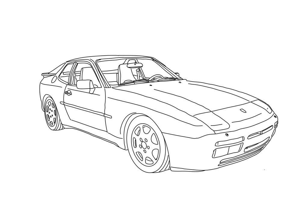 Porsche 944 turbo drawing by Marcus Holland of Stuttgart