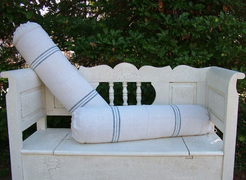 Blue Stripe Vintage Linen Bolster Cushion.  Beyond France.