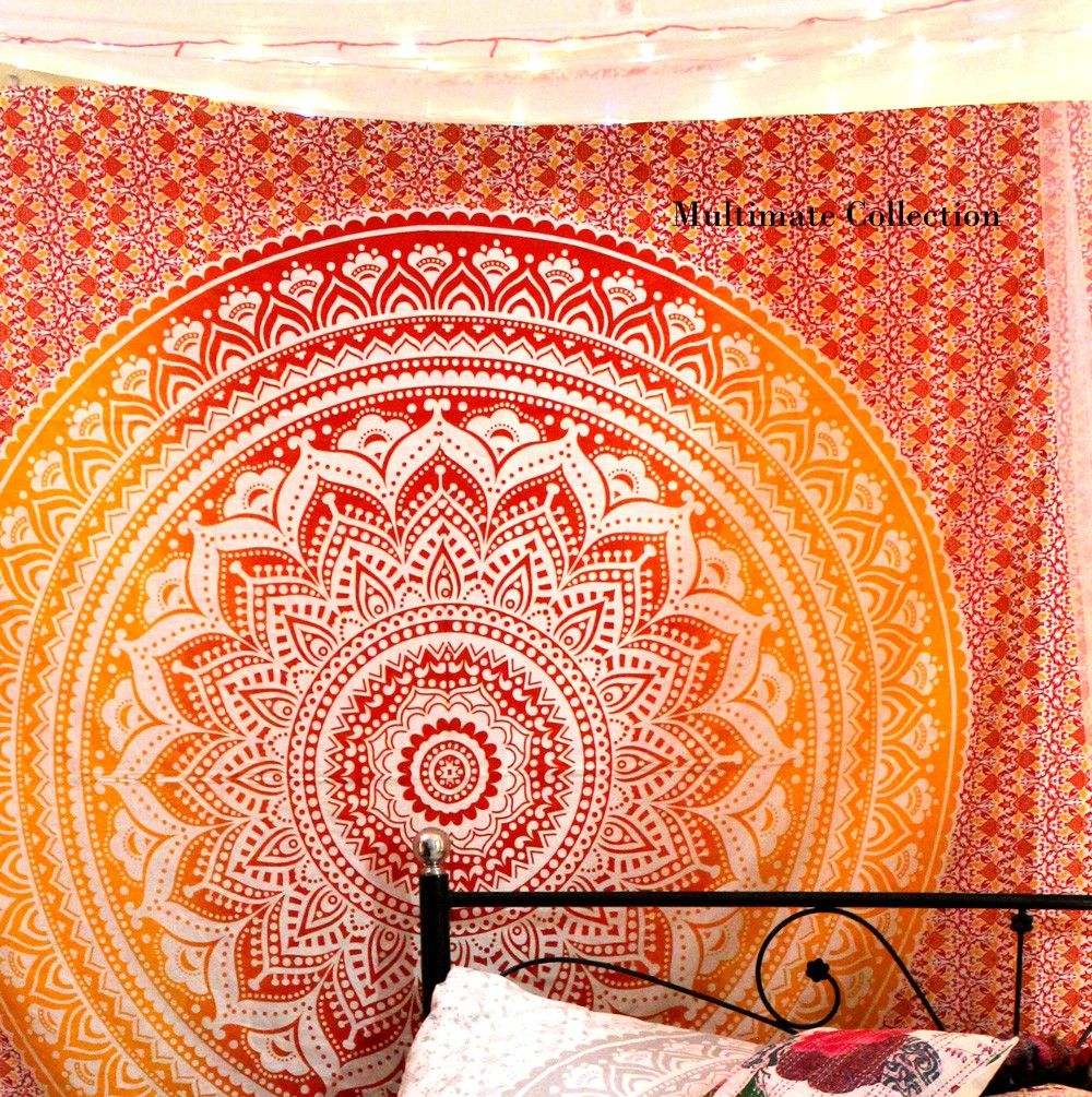 This Ombre Mandala wall hanging is perfectly desiged for bohemian and gypsy lovers. The design and effect in this tapestry looks amazing.  The colors are soothing and perfect for decoration. The tapestry is beautiful and perfect to use as throws, bedspreads, coverlets, wall hanging etc  Add ethnic feel to your room with this cotton handmade Indian wall hanging and enjoy with this awesome art. Give a makeover to your wall and surprise your guests. Don't miss this piece.