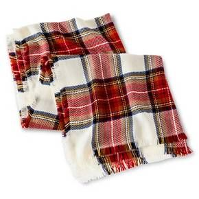 Women's Cozy Plaid Blanket Wrap Scarf White Red - Merona™