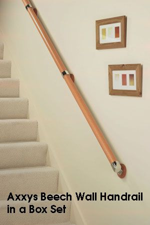 Best Axxys Beech Nickle Wall Handrail In A Box Set Stair 400 x 300