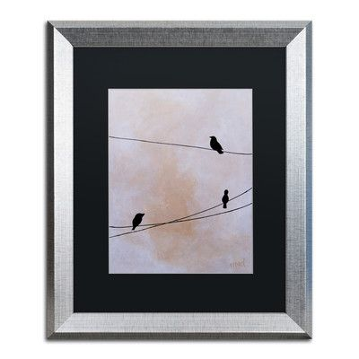 "Trademark Art ""Bird on Wire White"" by Nicole Dietz Framed Graphic Art Matte Color: Black, Size: 20"" H x 16"" W x 0.5"" D"