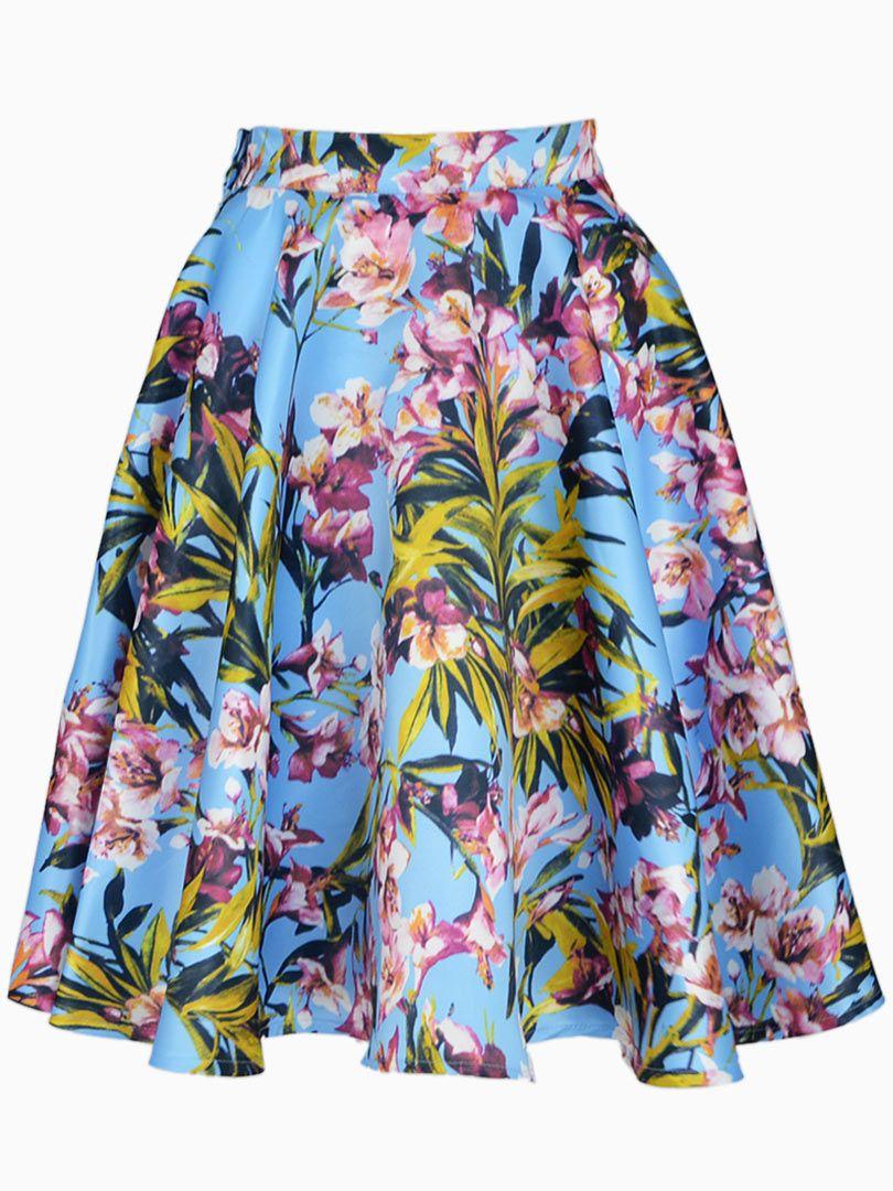 436b7c518 Blue Floral Pleated Skater Skirt With Side Zipper | Choies | Skirt ...